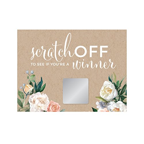 Andaz Press Peach Coral Kraft Brown Rustic Floral Garden Party Wedding Collection, Bridal Shower Game Scratch Cards, 30-Pack ()