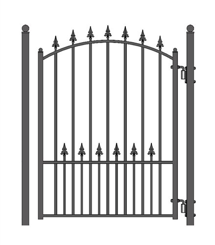 ALEKO PGMUN Munich Style Ornamental Galvanized Steel Pedestrian Security Gate 5 x 4 Feet Black ()