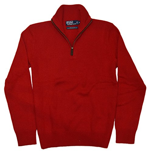 Polo Ralph Lauren Mens Pullover Half-Zip Cashmere Knit Sweater Red Italy (Cashmere Half Zip Sweater)
