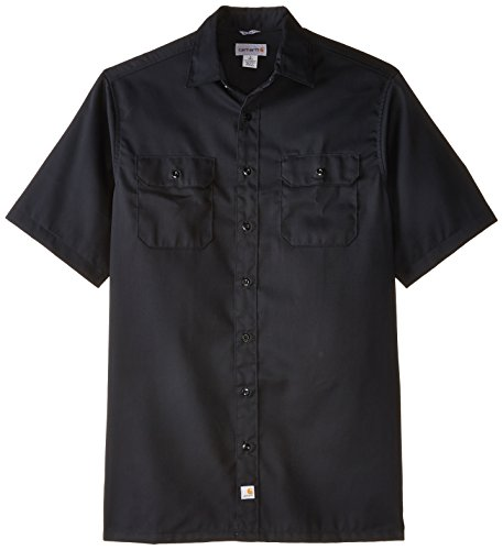 Carhartt Big And Tall Work Shirt - Carhartt Men's Big & Tall Twill Short Sleeve Work Shirt Button Front,Black,Large/Tall