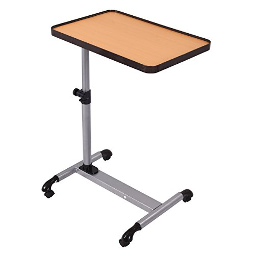(Tangkula Laptop Desk Overbed Table, Mobile Desk Cart, Angle & Height Adjustable Laptop Stand Cart, Computer Desk with Smooth & Lockable Casters, Mobile Lap Workstation Notebook Cart (Wood))