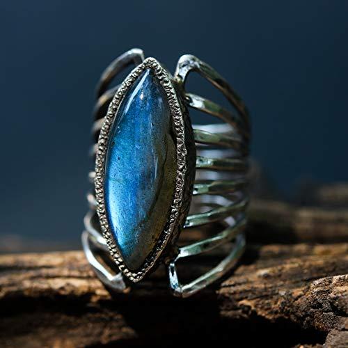 Marquis dark blue/gray Labradorite ring in silver bezel setting with sterling silver skeleton multi wrap - Labradorite Marquis
