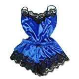 Women Fashion Lingerie Sexy Lace Sleepwear Temptation Babydoll Underwear Nightdress (L3, Blue)
