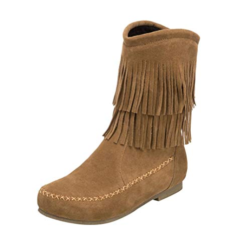 oots | Fashion Tassel Mid-Calf Short Boot | Casual Low-Heels Boots Shoes (35/US:5.5, Yellow) ()