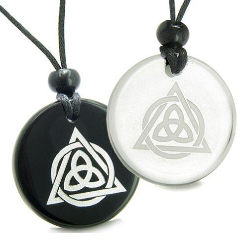 Amulets Love Couple Celtic Triquetra Circle Triple Powers Quartz Black Agate Pendant Necklaces