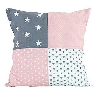 "Soft Cotton Nursery Throw Pillow Cover by ULLENBOOM | Star/Polka Dot | Decorative Euro Sham | 20"" x 20"" - Girls Pink/Grey"