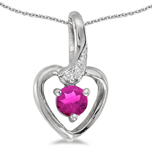 Jewels By Lux 14k White Gold Genuine Birthstone Round Pink Topaz And Diamond Heart Pendant (0.3 Cttw.)