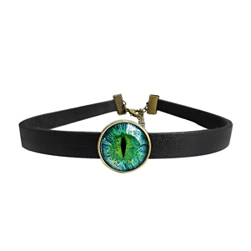 LooPoP Womens Gothic Leather Choker Collar Green Justice Dragon Eye Punk Necklace with Glass Pendant Adjustable (Leather Dragon Green)