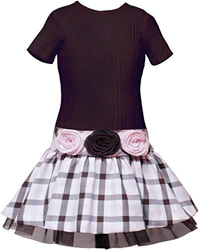 (Rare Editions Girls 4-16 Brown/Pink Rib Knit to Plaid Drop Waist Dress (16, Brown))