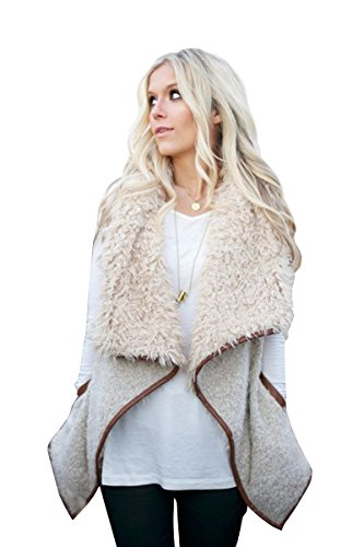 Cozy Chic Shearling Sherpa Vest Jacket & Pink Storage Bag (Large, Beige)