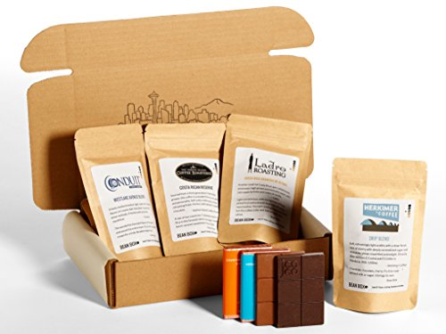 Bean Box Gourmet Coffee and Chocolate Gift Box - (4 handpicked roasts + 4 chocolate bars, whole bean coffee)