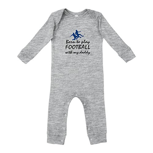 - Born to Play Football with My Daddy Football Cotton Envelope Neck Unisex Baby Legged Long Rib Coverall Bodysuit - Oxford Gray, 18 Months