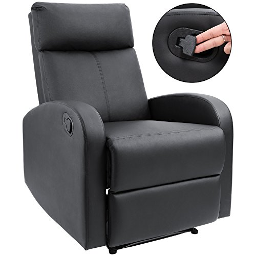 Leather Home Theater Seats Recliner (Homall Manual Recliner Chair Padded PU Leather Home Theater Seating Quick Switch Design Modern Chaise Couch Black Lounger Sofa Seat (Black))