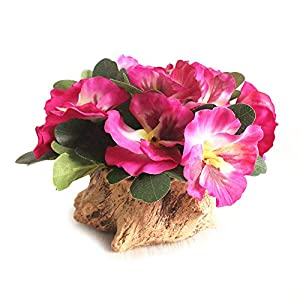 Riverbyland Artificial Flower Silk Pansy with Wood Flowerpot House Decorations Ornaments Rose Red 68