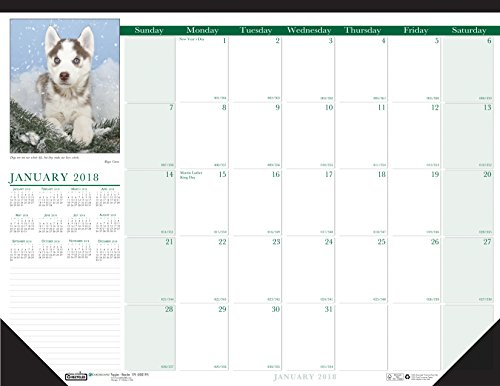 House of Doolittle 2018 Monthly Desk Pad Calendar, Earthscapes Puppies, 22 x 17 Inches, January - December (HOD199-18)