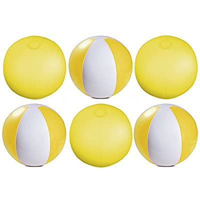 """eBuyGB Pack of 6 Inflatable Colour Beach Ball 22 cm/9"""" - Beach Pool Game (Yellow)"""