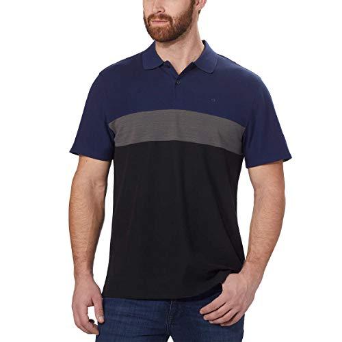 Calvin Klein Mens Short Sleeve Pique Cotton Polo Shirt (Black Combo, Large)