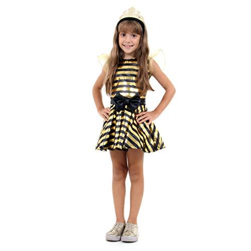 Fantasia Abelha Rainha Infantil 933450-M, Preto/Dourado, Sulamericana Fantasias