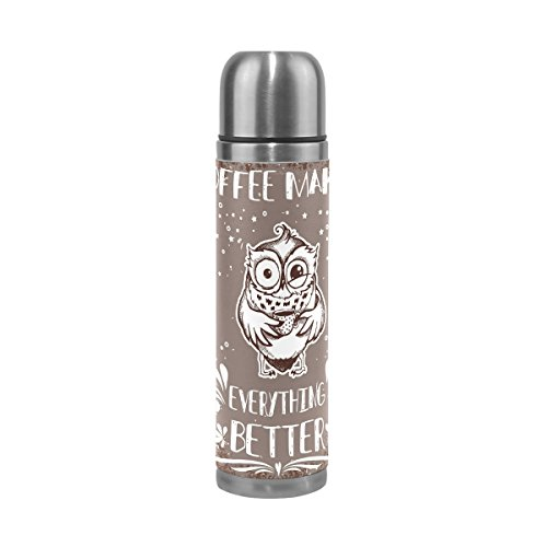 ALAZA Coffee Makes Everything Better Owls Water Bottle Stain