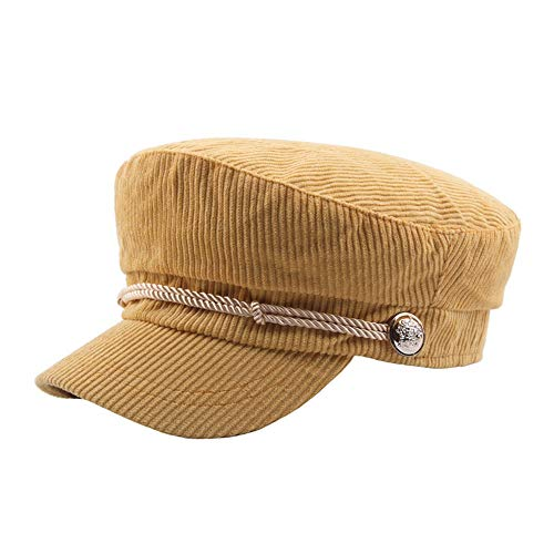 FeliciaJuan French Beret Autumn and Winter Corduroy Striped Flat Cap Student Hat Rope Decorative Cap (Color : Yellow)