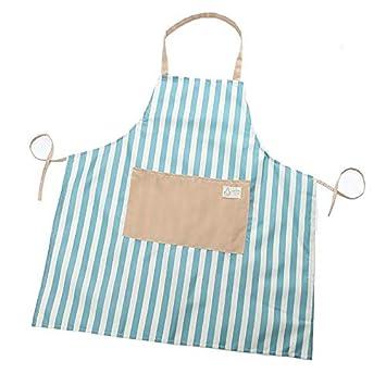 Parrilla y Hornear Delantal para Adultos con un Bolsillo Frontal Delantal para Mujer Chef Cocina CyFe Delantal de Cocina con patr/ón de Rayas 74 * 68cm cocinar Azul