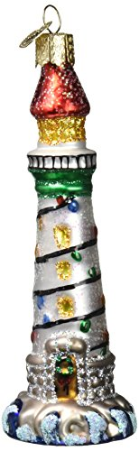 Old World Christmas Ornaments: Holiday Lighthouse Glass Blown Ornaments for Christmas Tree