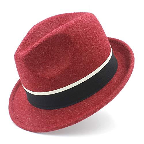 Moktasp Retro Women Wool Gangster Trilby Fedora Hat for Elegant Lady Trilby Felt Homburg Church British Derby Caps -