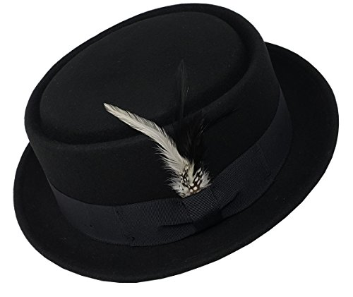 Different Touch Men's Crushable Wool Felt PorkPie Fedora Hats Black DTHE09 (S/M) -