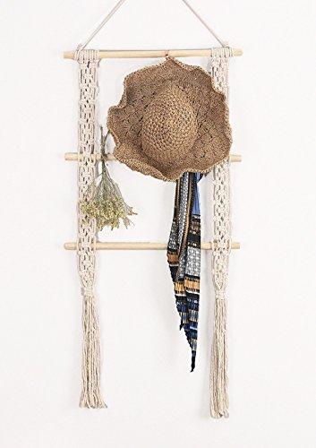 RISEON Boho Rustic Wood Macrame Floating Hanging Wall Display Shelf Organizer Hanger