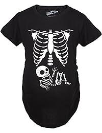 Maternity White Skeleton Rib Cage Halloween Pregancy Tee -S