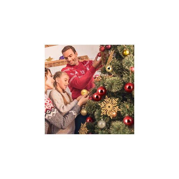 Kranich 32 Palla Rossa per Albero di Natale, infrangibile, Molto Adatta per Decorazioni Natalizie, Decorazioni sospese, Feste, Matrimoni, Feste (5 Finiture, 60mm) 6 spesavip
