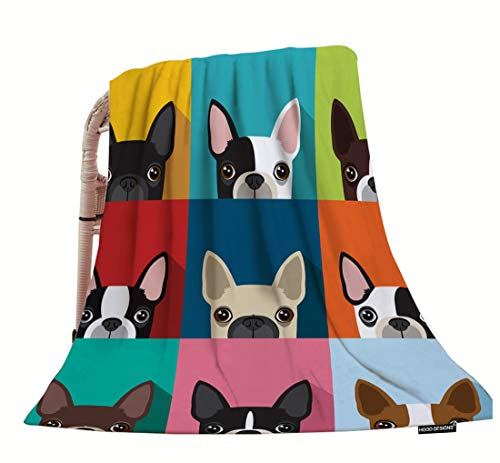 Boston Terrier Portrait - HGOD DESIGNS Dog Throw Blanket,Funny Boston Terrier Face Art Portrait Icon Soft Warm Decorative Throw Blanket for Baby Toddler or Pets Cat Dog 30