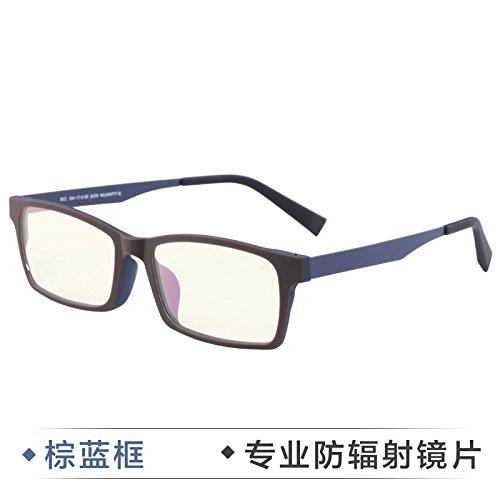a Brown moda anti negocios de hombres de caja azul Gafas gafas grado Radiation plano móvil negra ningún Radiación de KOMNY radiación prueba Blue la equipo de gafas espejo vwqE4EP