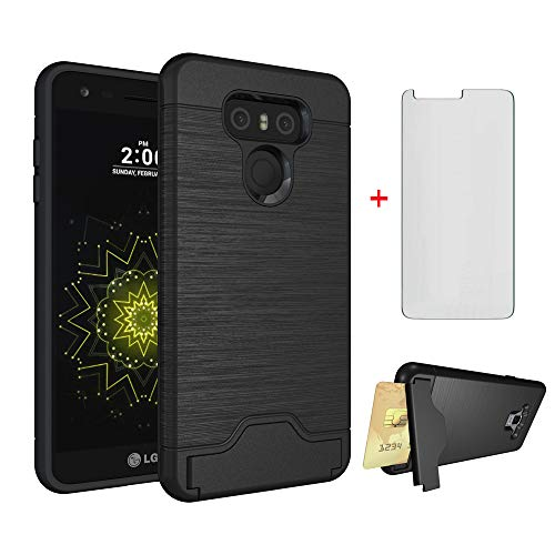 Asuwish Phone Case for LG G6 with Tempered Glass Screen Protector Cover Credit Card Holder Wallet Stand Kickstand Cell Accessories Heavy Duty Protective LGG6 G 6 Plus LG6 ThinQ G6+ VS988 H871 Women