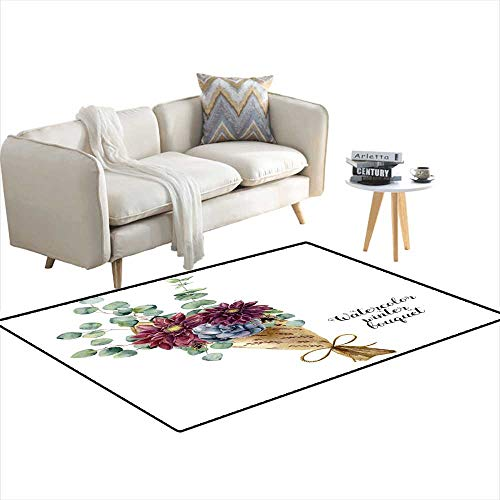 Girls Bedroom Rug Watercolor Winter Bouquet Hanpaintebaby seedeansilver Dollar Eucalyptus Elements Succulent andahlia Floral Illustration 4'x17' ()