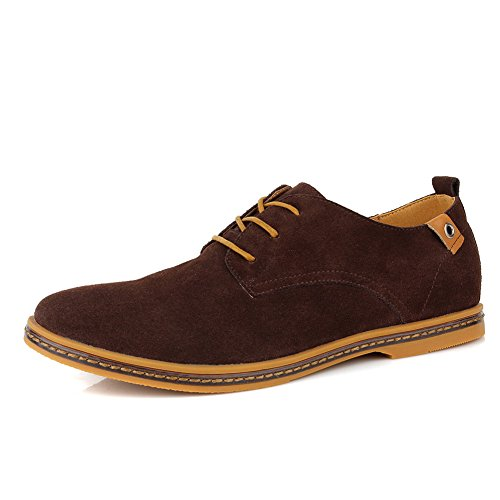 Cior Heren Oxford Classic Dress Suède Casual Schoenen Lace-up Loafer Flats Sneakers 01coffee