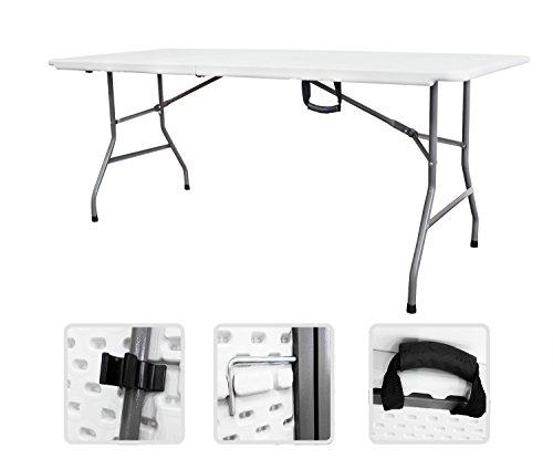 Todeco - Mesa Plegable Portatil, Mesa de Plastico Resistente - Material: HDPE - Carga maxima: 100 kg - 180 x 76 cm, Blanco, Plegable por la mitad