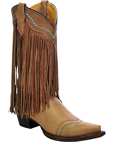 Corral Girls' Cowhide Fringe Cowgirl Boot Snip Toe Taupe 4 by CORRAL