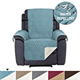 Recliner Cover Reversible Quilted Furniture Protector, Seat Width Up to 22', Adjusts Straps, Protect from Pets, Spills, Wear and Tear, Microfiber Sofa Cover(Recliner: Stone Blue / Beige) 79'' x 68''