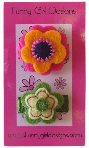 Baby Girl Stella Felt Flower 2 Piece Snap Hair Clip Set Funny Girl (Flower Felt Bag)