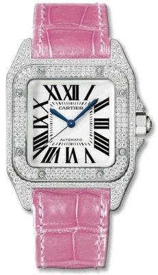 Cartier Santos 100 Diamond 18kt White Gold Pink Ladies Watch WM501751