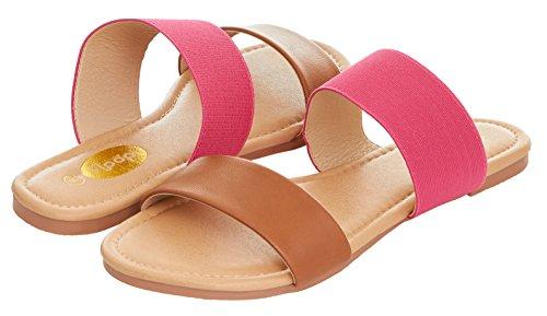 Fuchsia Slides - Floopi Womens Summer Wide Elastic Slide Flat Sandal (7, Tan/Fuchsia-503)