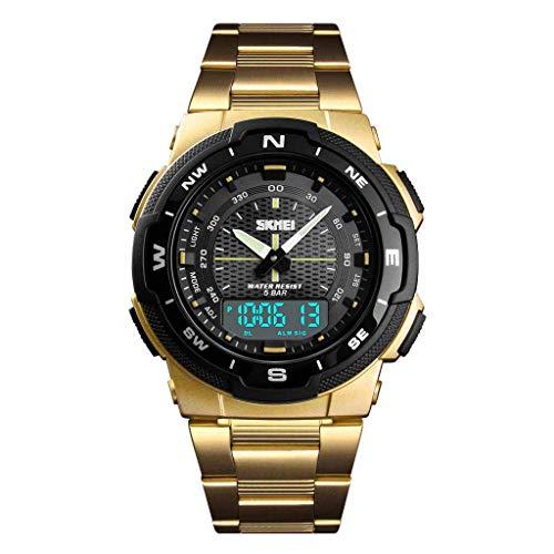 skmei Mens Watch SKMEI Casual Fashion Business Watch Double Display Steel Belt Men's Watch ()