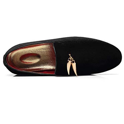 Zapatillas los Diente Zapatos Negro NXY de Moda Fumar Ponerse de Borla Oro conducción De Vestir Zapatos de Mocasines Boda de Terciopelo Hombres Tiburón con qpFxY5PF