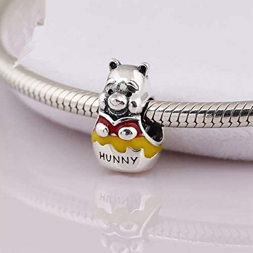 EVESCITY Sterling Winnie The Pooh and Piglet Cute Silver Charm Bead Pendant Compatible with Popular Charms Bracelets /♥ Best Jewelry Gifts for Her Holiday Women Wife BFF Birthday /♥