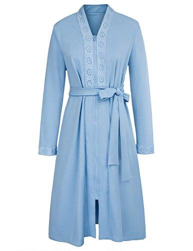 House Bathrobes for Women Long Shawl Collar Robe Dressing Gown Light Blue ()