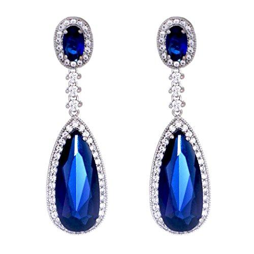 SELOVO Teardrop Cubic Zirconia Blue Dangling Dangly Earrings Silver (Navy White Earings)