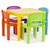 Tot Tutors Kids' Plastic Table and 4-Chair Set, Secondary Colors