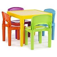 Juego de 4 sillas de plástico para niños Tot Tutors, colores vibrantes