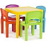 Tot Tutors Kids Plastic Table and 4 Chairs Set, Vibrant Colors